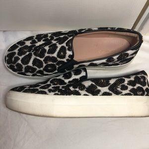 Topshop leopard print platform slip-on shoes